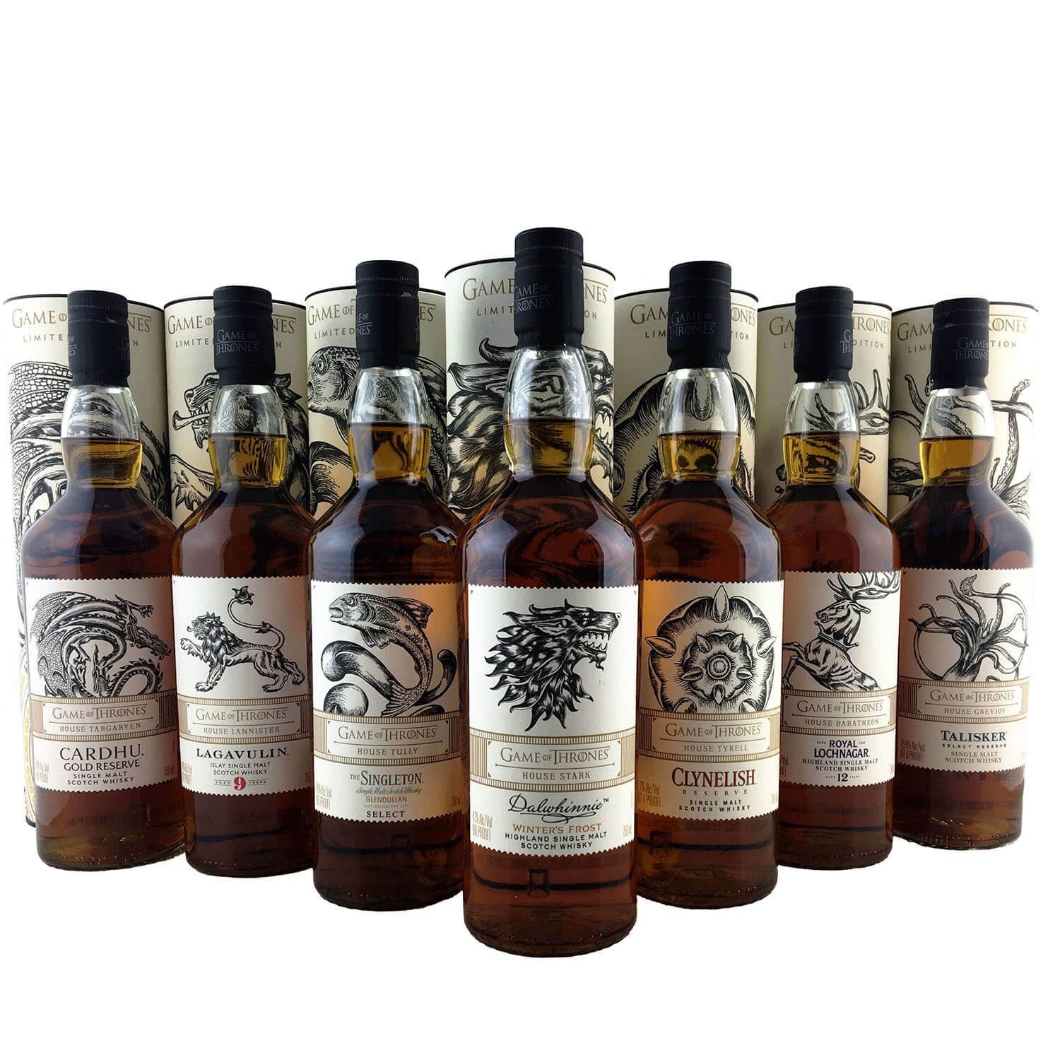 Game Of Thrones Complete Set Bottle Scotch Whisky Collection 8 X